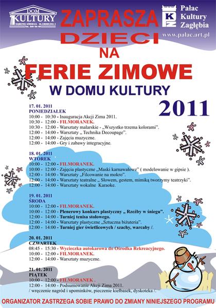 Plan Zajec W Okresie Ferii Zimowych 2011 Www Palac Art Pl